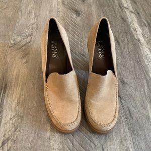 Tan High Heel Loafers